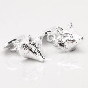 Silver Plated Fox Cufflinks