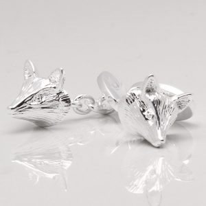 Silver Plated Fox Cufflinks