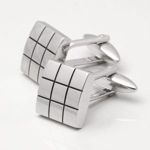 Silver Plated Grid Cufflinks