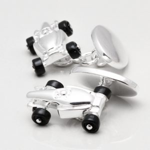 Silver Plated Motor Racing F1 Car Cufflinks