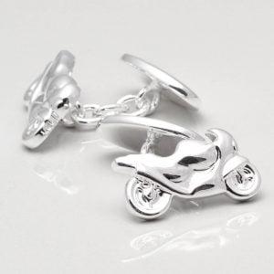 Silver Plated Motorbike Cufflinks
