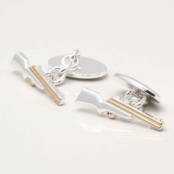 Silver Plated Rifle Cufflinks