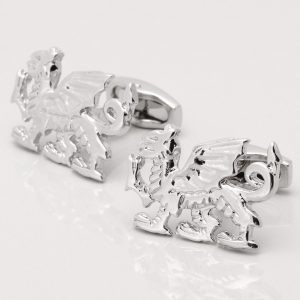 Silver Plated Welsh Dragon Cufflinks