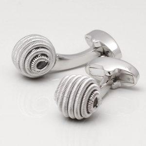 Silver Spiral Ball Cufflinks