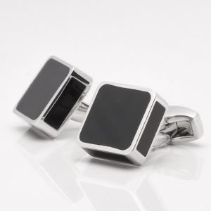 Silver Square Black Enamel Cufflinks