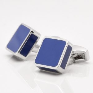 Silver Square Blue Enamel Cufflinks