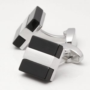 Silver with Black Cufflinks