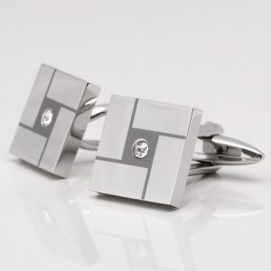 Stainless Steel Laser Etched Square Crystal Cufflinks