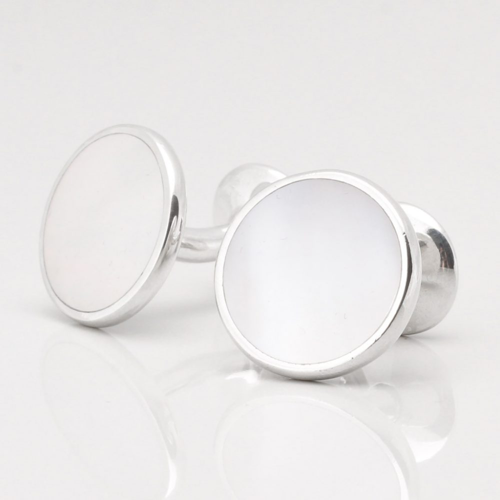 Sterling Silver Circular Mother of Pearl Cufflinks