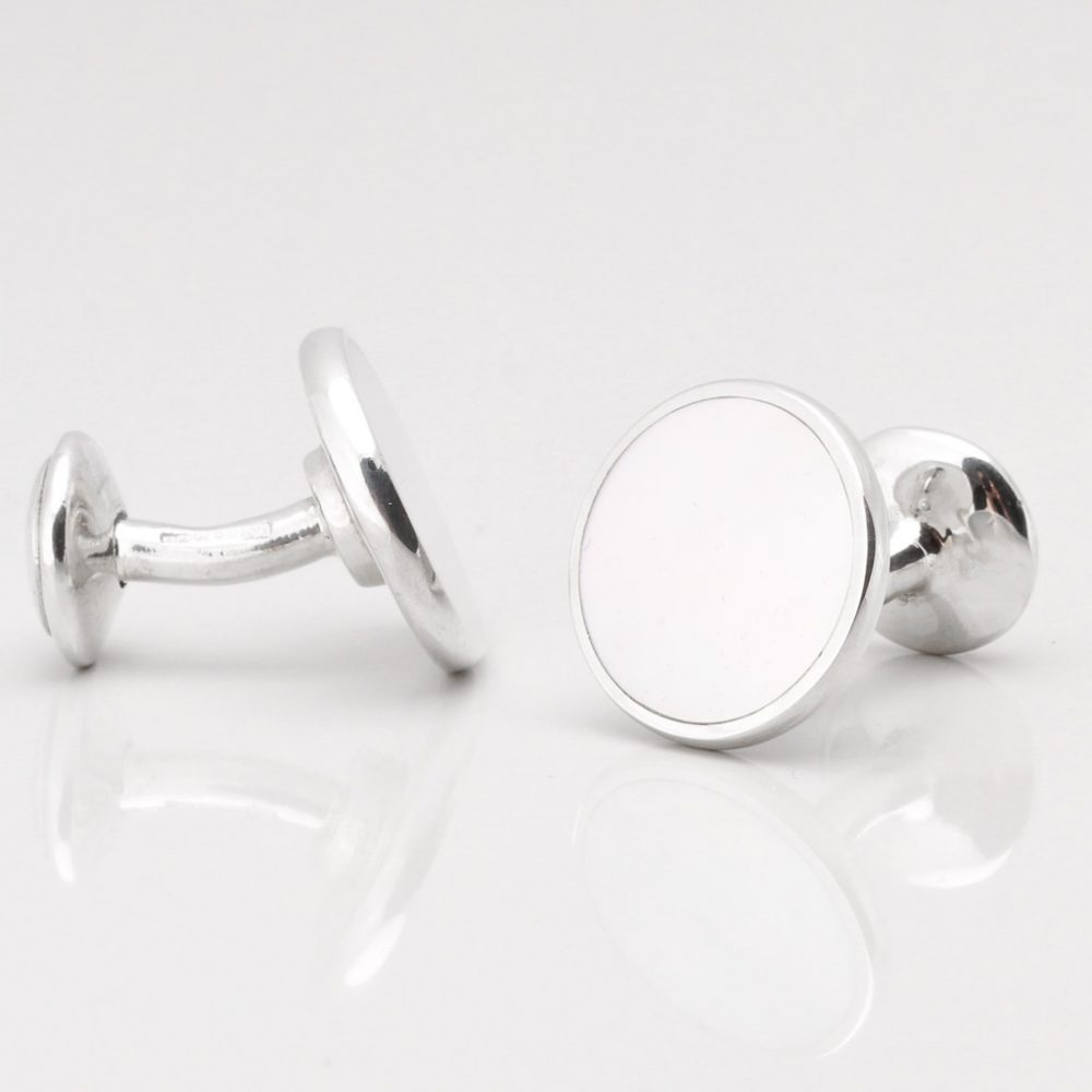 Sterling Silver Circular Mother of Pearl Cufflinks Gallery
