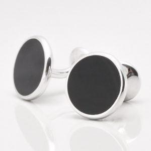 Sterling Silver Circular Onyx Cufflinks