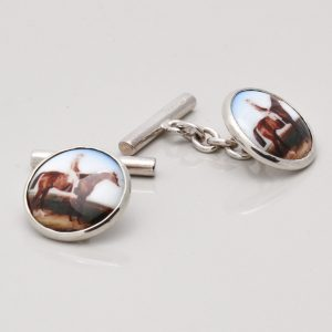 Sterling Silver Enamelled Horse Rider Cufflinks