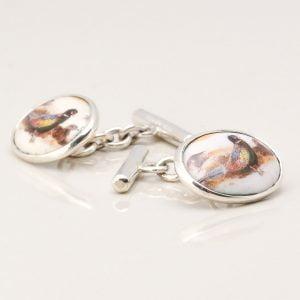 Sterling Silver Enamelled Pheasant Cufflinks