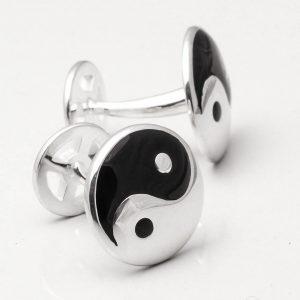 Sterling Silver Enamelled Yin & Yang Cufflinks