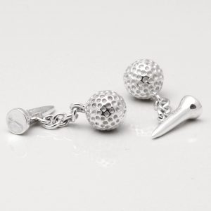 Sterling Silver Golf Ball & Tee Cufflinks