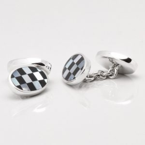 Sterling Silver Mother of Pearl & Onyx Double Sided Cufflinks