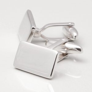 Sterling Silver Plated Oblong Cufflinks