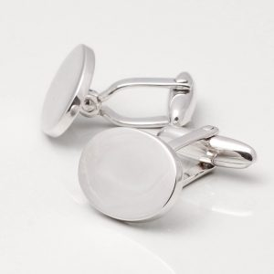 Sterling Silver Plated Oval Cufflinks