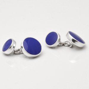 Sterling Silver Round Lapis Cufflinks