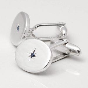 Sterling Silver Sapphire Cufflinks