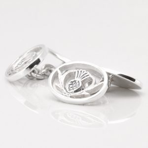 Sterling Silver Thistle Cufflinks