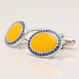 Sterling Silver Yellow Enamel Cufflinks