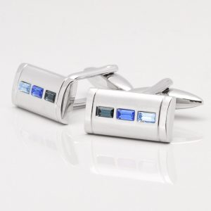THREE BLUE RECTANGULAR CRYSTAL CUFFLINKS