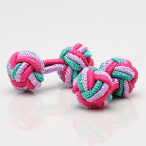 Turquoise, Lilac & Pink Knot Cufflinks