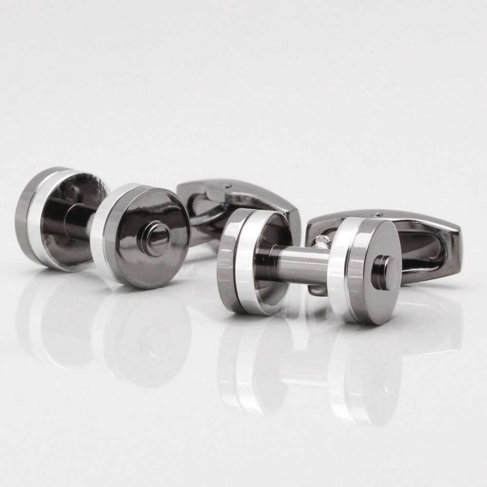Two Tone Dumbbell Cufflinks