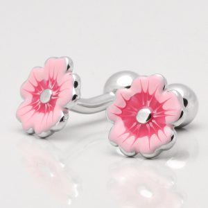 Two Tone Pink Flower Cufflinks