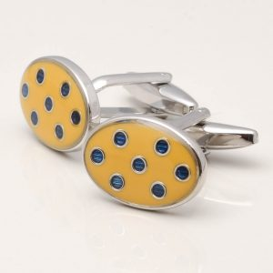 Yellow & Navy Spotted Cufflinks
