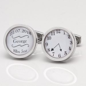 BABY BOY NAME, DATE, WEIGHT & TIME OF BIRTH CUFFLINKS