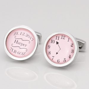 BABY GIRL NAME, DATE, WEIGHT & TIME OF BIRTH CUFFLINKS