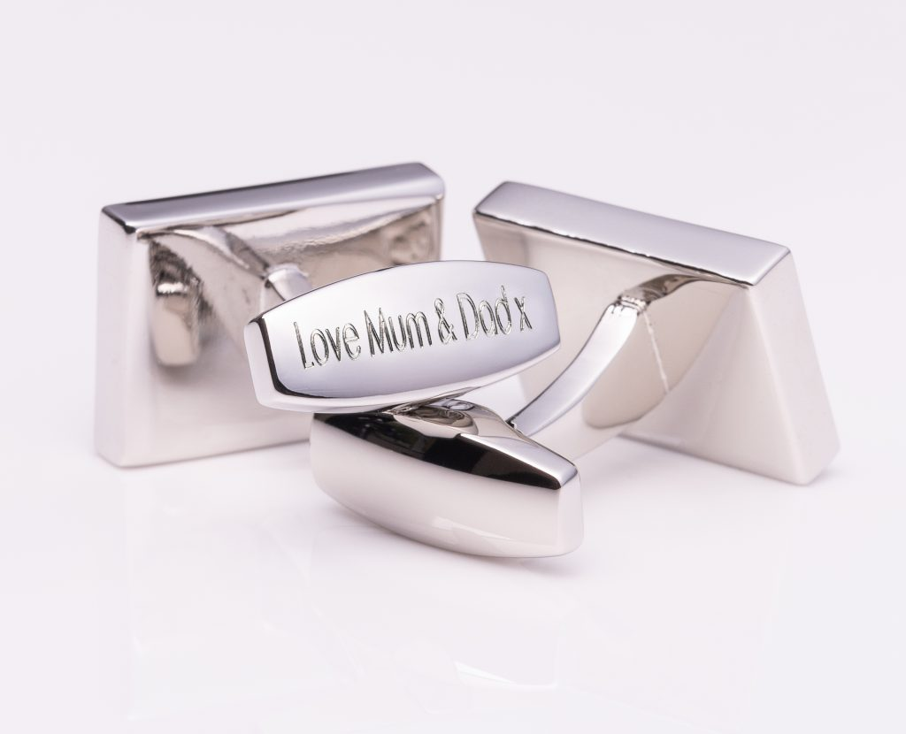 Badger & Brown cufflinks - engraved stem - Silver