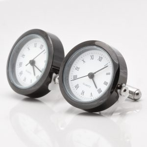 Black Real Working Clock Cufflinks