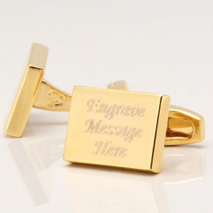 ENGRAVED CUFFLINKS, GOLD PLATED RECTANGLE