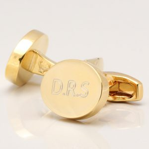 Engraved Initial Cufflinks, Gold Plated Oval