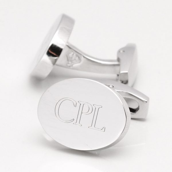 Engraved Initial Cufflinks, Silver Plated Oval