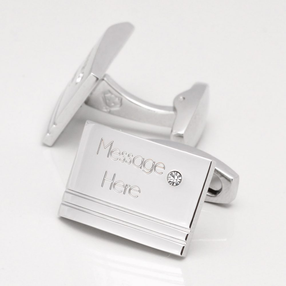 Engraved,Rectangular Clear Crystal Personalised Cufflinks