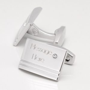 Engraved, Rectangular Clear Crystal Personalised Cufflinks