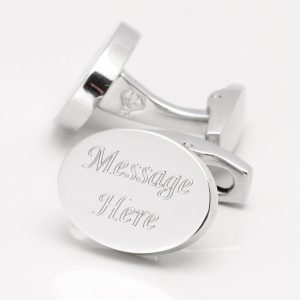 Engraved, Silver Plated Oval Personalised Cufflinks