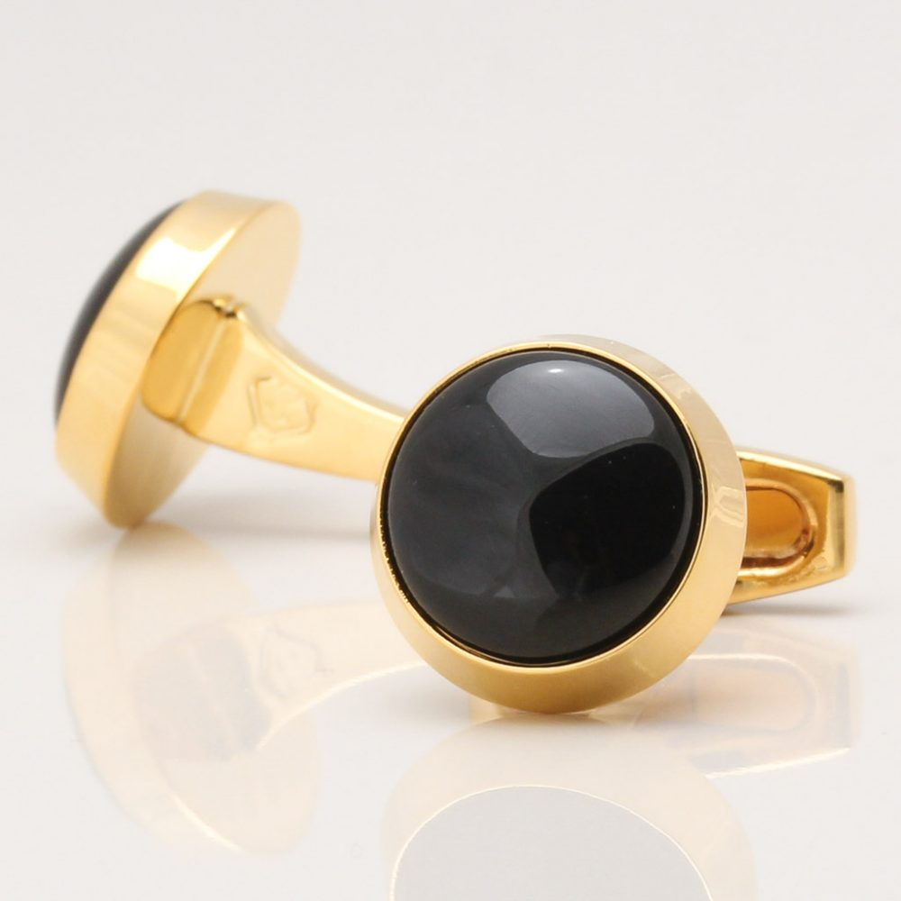 Gold Circle Cufflinks with Onyx Centre
