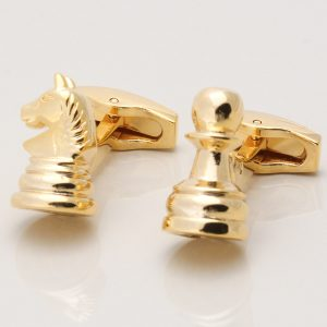 Gold Knight & Pawn Chess Cufflinks
