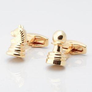 Gold Knight & Pawn Chess Cufflinks