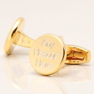 Gold Plated Circle Engraved Cufflinks