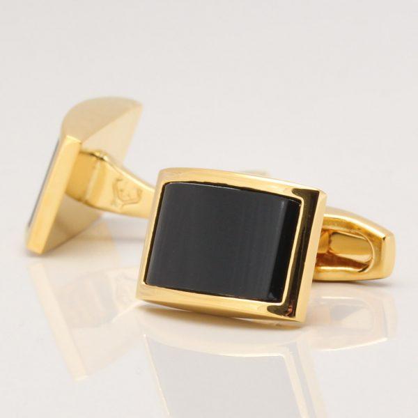 Gold Plated Onyx Cufflinks