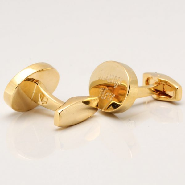 Gold Plated Oval Engraved Cufflinks Gallery