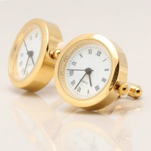 Gold Real Working Clock Cufflinks