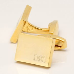 Gold Subtle Engraved Initial Cufflinks
