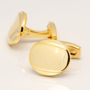 Golden Oval Curved Cufflinks